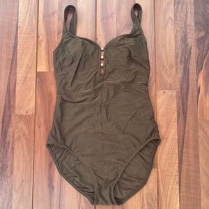 Vintage Christina one piece green bathing suit 10